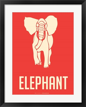 Framed Elephant White Print