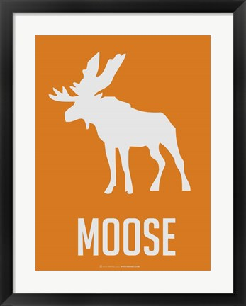 Framed Moose White Print
