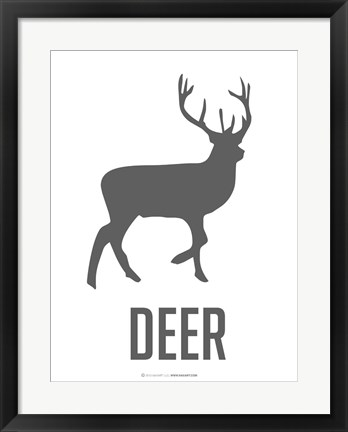 Framed Deer Black Print