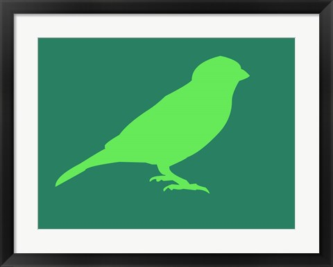 Framed Light Green Bird Print