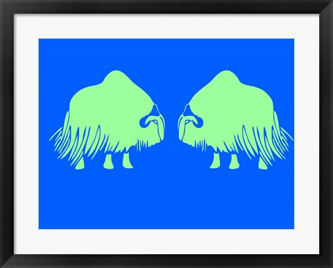 Framed Two Green Oxes Print