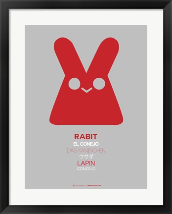 Framed Red Rabbit Multilingual Print