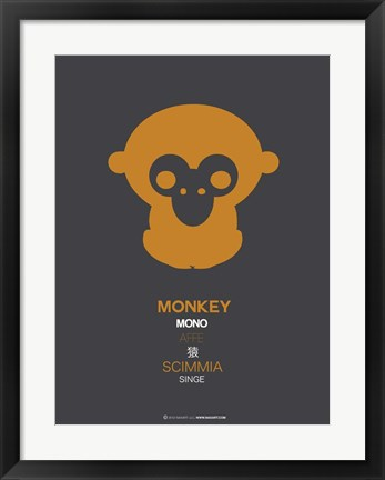 Framed Orange Monkey Multilingual Print