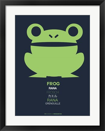 Framed Green Frog Multilingual Print