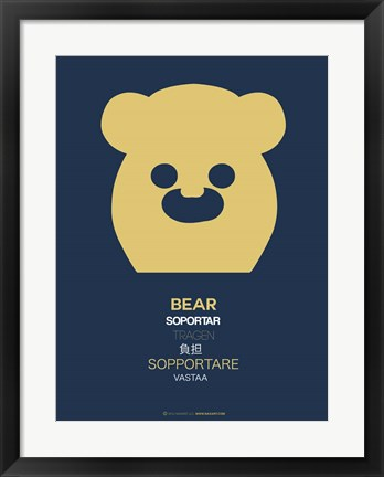 Framed Yellow Bear Multilingual Print