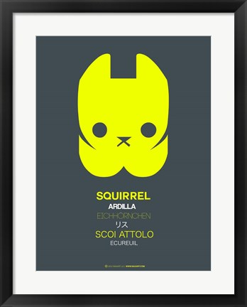 Framed Yellow Squirrel Multilingual Print