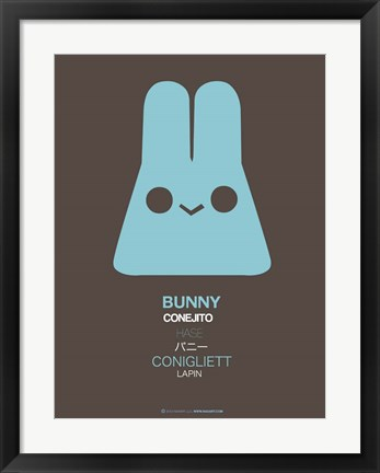 Framed Blue Bunny Multilingual Print