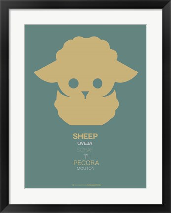 Framed Yellow Sheep Multilingual Print