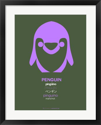 Framed Purple Penguin Multilingual Print