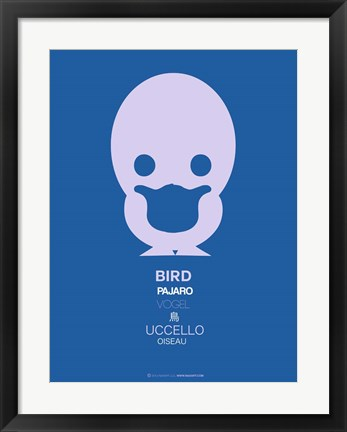 Framed Blue Bird Multilingual Print
