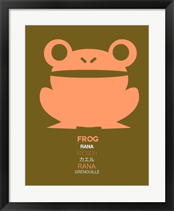 Framed Pink Frog Multilingual Print