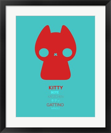Framed Red and Blue Kitty Multilingual Print