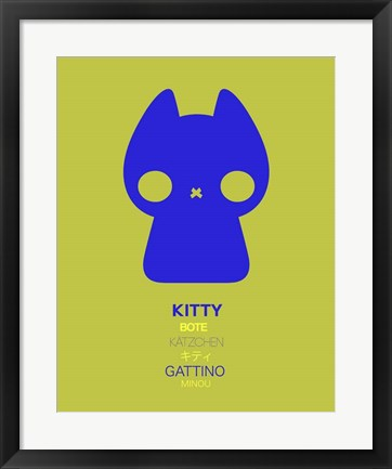 Framed Blue Kitty Multilingual Print