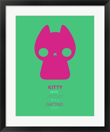 Framed Pink Kitty Multilingual Print