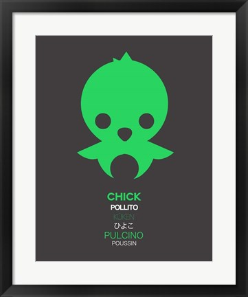 Framed Green Chick Multilingual 1 Print