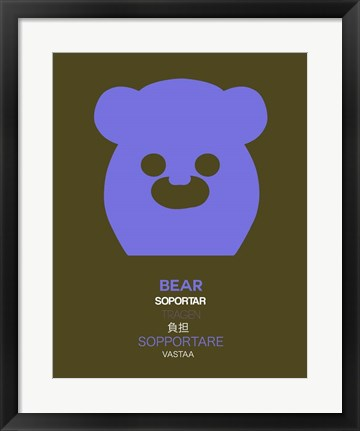 Framed Purpple Bear Multilingual Print