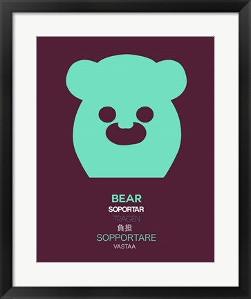 Framed Green Bear Multilingual Print
