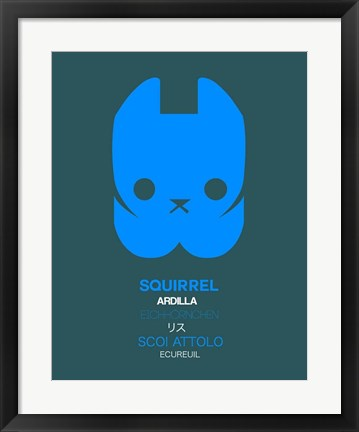Framed Blue Squirrel Multilingual Print