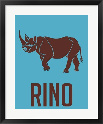 Framed Rhino Brown Print