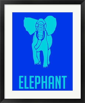 Framed Elephant Blue Print