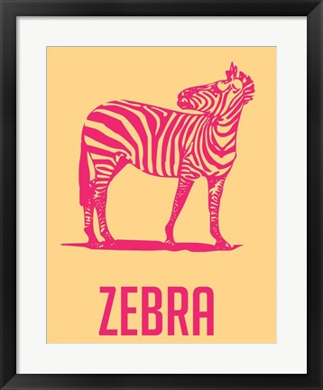 Framed Zebra Red and yellow Print