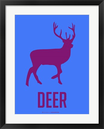 Framed Deer Purple Print