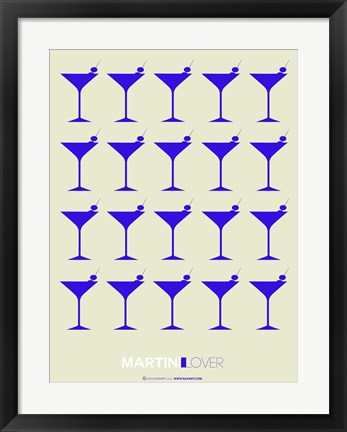 Framed Martini Lover Blue Print