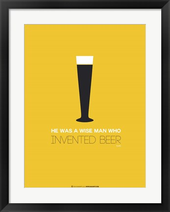 Framed Beer Glass Yellow Print
