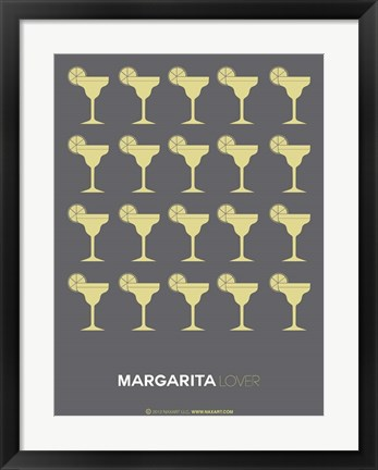 Framed Yellow Margaritas Grey Print