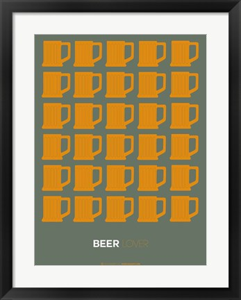 Framed Yellow Beer Mugs Print