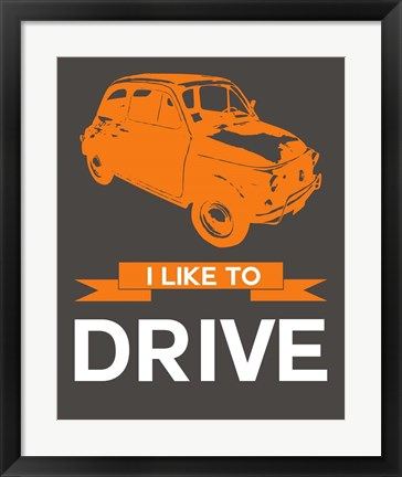 Framed I Like to Drive Beetle 4 Print