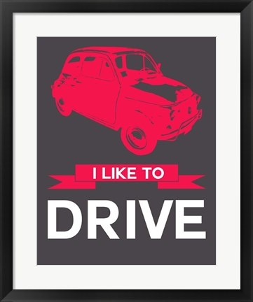 Framed I Like to Drive Beetle 6 Print