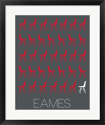 Framed Eames Chair Red Print