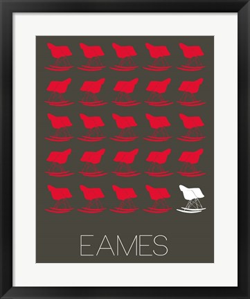 Framed Eames Red Rocking Chair Print