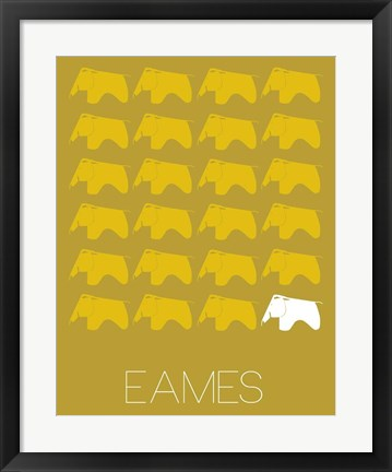 Framed Eames Yellow Elephant Print