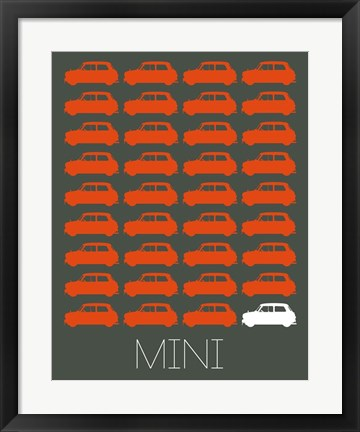 Framed Orange Mini Cooper Print