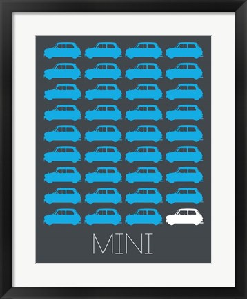 Framed Blue Mini Cooper Print