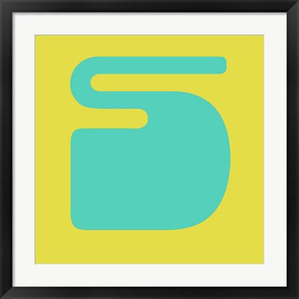 Framed Letter S Blue and Yellow Print