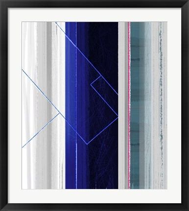 Framed Abstract White and Dark Blue Print