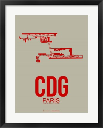 Framed CDG Paris 2 Print