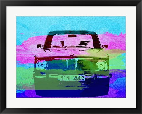 Framed BMW 2002 Front Watercolor 1 Print