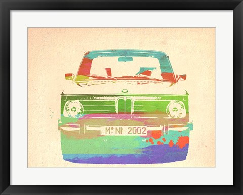 Framed BMW 2002 Front Watercolor 3 Print