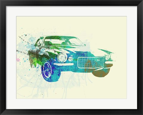 Framed Chevy Camaro Watercolor Print