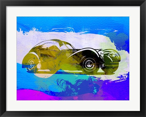 Framed Bugatti Atlantic Watercolor 2 Print