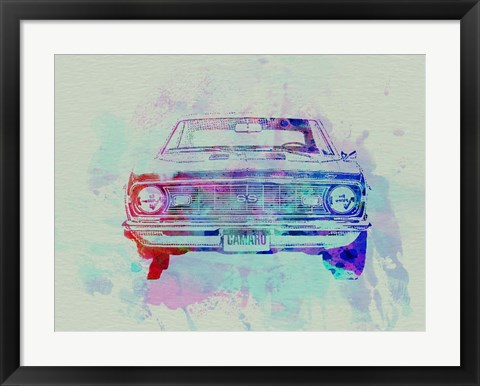 Framed Chevy Camaro Watercolor 2 Print