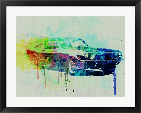 Framed Ford Mustang Watercolor 2 Print