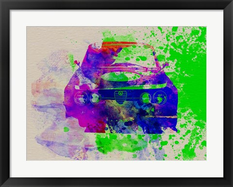 Framed Alfa Romeo Front Watercolor 1 Print