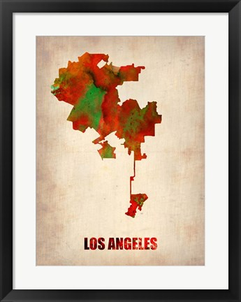 Framed Los Angeles Watercolor Map Print