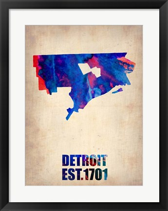 Framed Detroit Watercolor Map Print