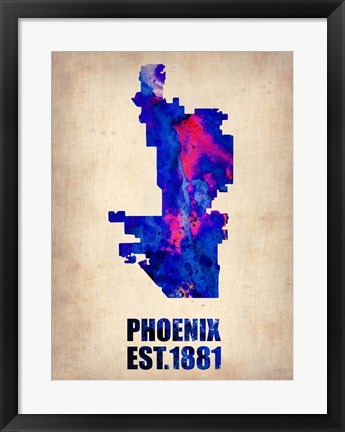 Framed Phoenix Watercolor Map Print